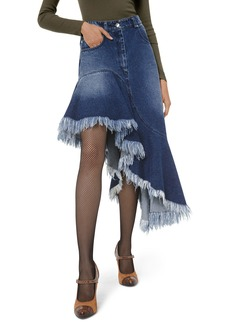 Michael Kors Asymmetric Frayed Denim Skirt