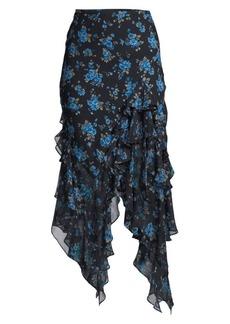 Michael Kors Asymmetric Ruffle Silk Midi Skirt
