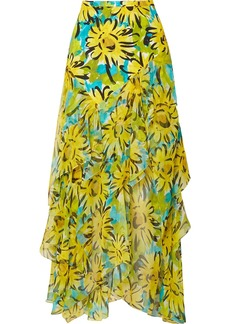 Michael Kors Asymmetric Ruffled Floral-print Silk-crepe And Chiffon Maxi Skirt
