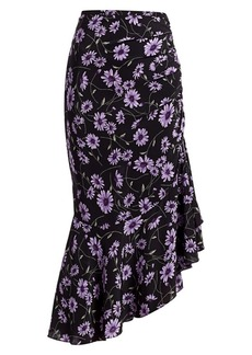Michael Kors Asymmetric Silk Floral Gathered Skirt