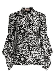 Michael Kors Asymmetric Sleeve Silk Blouse