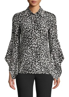 Michael Kors Asymmetric Sleeve Silk Blouse