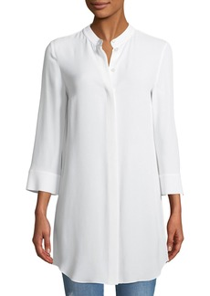 Michael Kors Banded-Collar Silk Marocain Long Shirt
