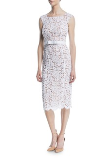 Michael Kors Bateau-Neck Sleeveless Floral Guipure Lace Sheath Dress w/ Belt