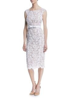 Michael Kors Bateau-Neck Sleeveless Floral Guipure Lace Sheath Dress w/ Belt