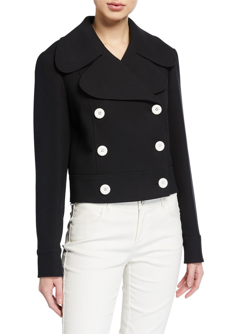 Michael Kors Battle Double-Breasted Cropped Jacket  Black