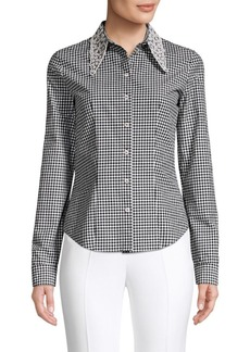 Michael Kors Beaded Eyelet Collar Gingham Shirt