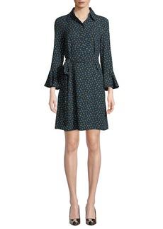 Michael Kors Bell-Sleeve Button-Front Rosebud-Print Silk Georgette Dress
