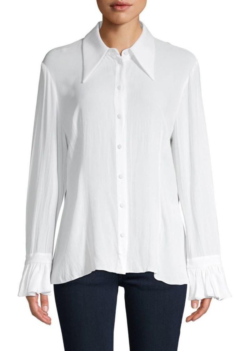 Michael Kors Bell-Sleeve Silk Shirt