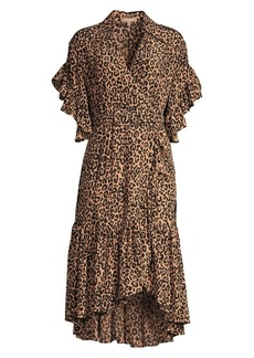 Michael Kors Belted Cheetah Silk Wrap Dress