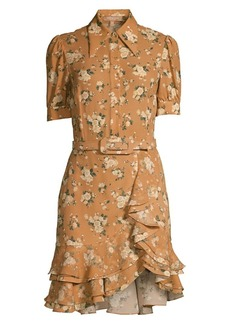 Michael Kors Belted Floral Silk Ruffle Shirtdress
