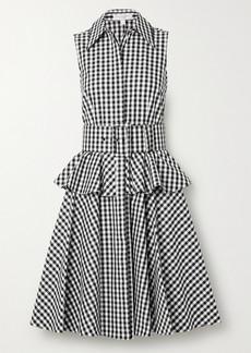 Michael Kors Belted Gingham Cotton-poplin Peplum Shirt Dress