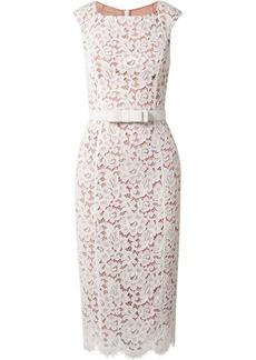 Michael Kors Belted Guipure Lace Midi Dress