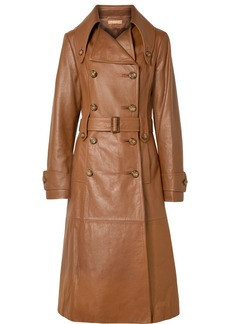 Michael Kors Belted Leather Trench Coat