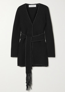 Michael Kors Belted Leather-trimmed Ribbed Cashmere Cardigan