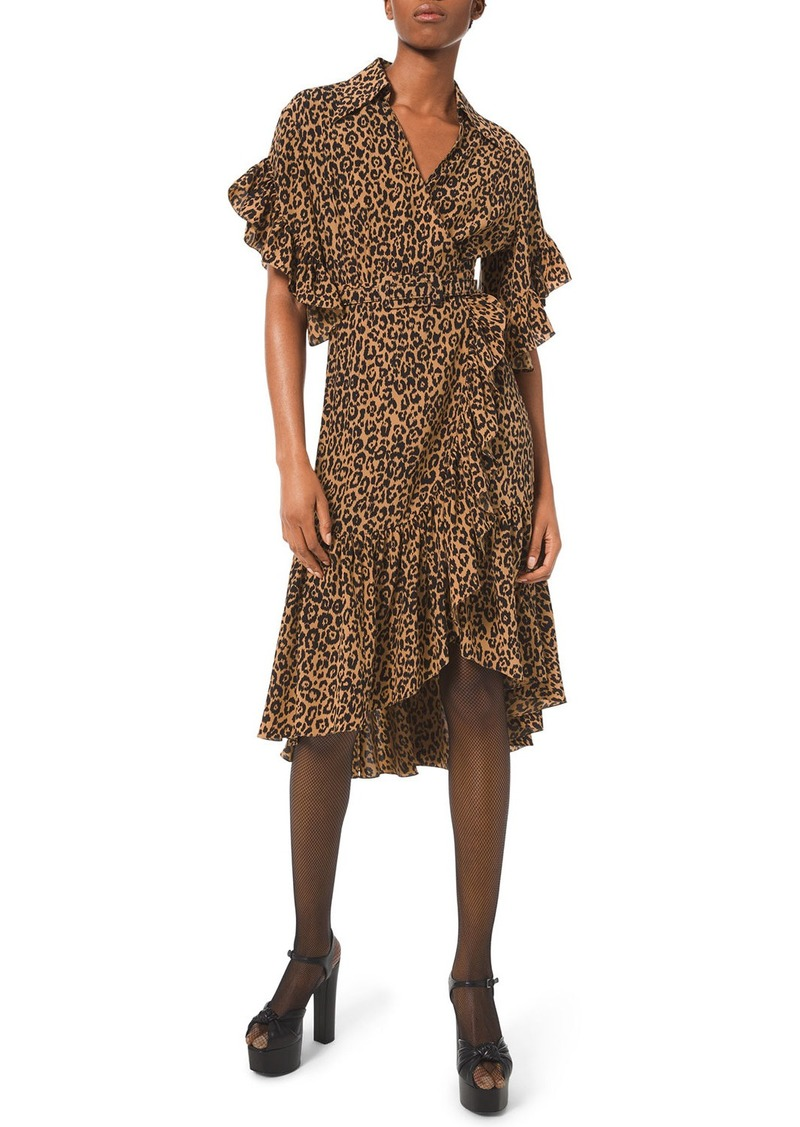 Michael Kors Belted Leopard-Print Ruffle-Wrap Dress