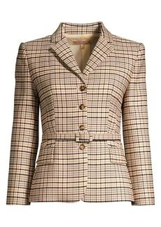 Michael Kors Belted Plaid Stretch Wool Blazer