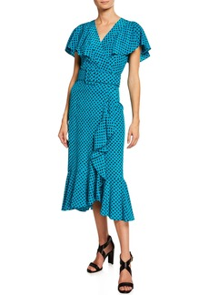 Michael Kors Belted Polka-Dot Ruffled Midi Dress
