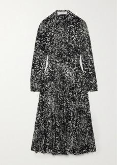 Michael Kors Belted Printed Silk Crepe De Chine Midi Shirt Dress