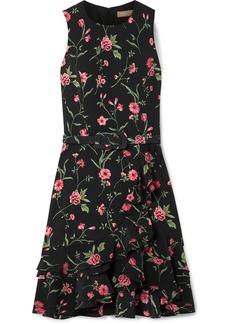 Michael Kors Belted Ruffled Floral-print Crepe Mini Dress