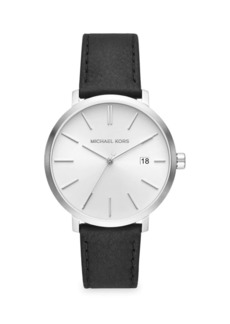 Michael Kors Blake Three-Hand Stainless Steel Black Leather Strap Watch
