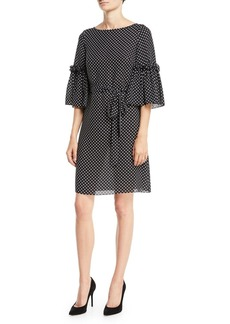 Michael Kors Boat-Neck Bell-Sleeve Polka-Dot Silk Georgette Shift Dress