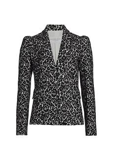 Michael Kors Bonded Lace Puff-Sleeve Blazer