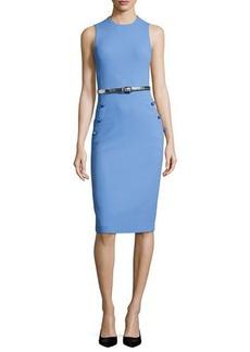 Michael Kors Boucle Belted Sleeveless Sheath Dress