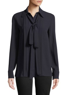 Michael Kors Bow-Neck Button-Front Blouse