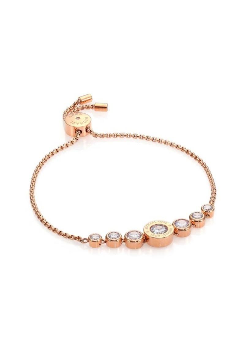50a4728bb3df Michael Kors Brilliance Logo Slide Bracelet Rose Goldtone