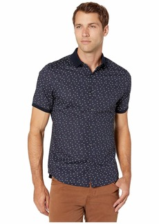 Michael Kors Brody Slim Fit Shirt with Knit Collar and Cuff