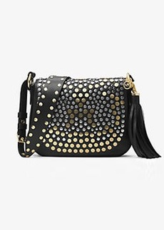 Michael Kors Brooklyn Medium Studded Leather Saddlebag
