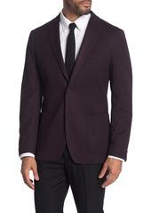 Michael Kors Burgundy Solid Two-Button Notch Lapel Slim Fit Jacket