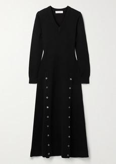 Michael Kors Button-detailed Cashmere-blend Midi Dress