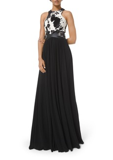 Michael Kors Calf Hair-Bodice Gown With Belt