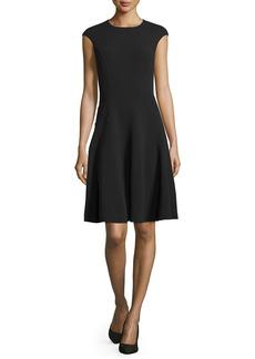 Michael Kors Cap-Sleeve Fit-&-Flare Dress  Black