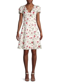 Michael Kors Cap-Sleeve Floral Flare Dress