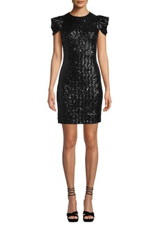 Michael Kors Cap-Sleeve Paillette Sheath Cocktail Dress