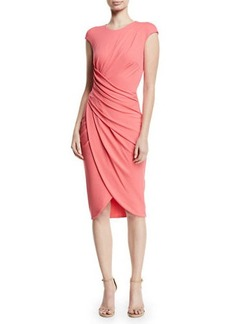 Michael Kors Cap-Sleeve Ruched Stretch Matte Jersey Cocktail Dress