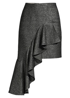 Michael Kors Cascade Metallic Wool Ruffle Mini Skirt