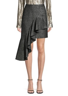 Michael Kors Cascade Metallic Wool Ruffle Mini Skirt