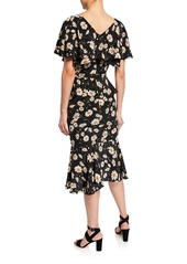 Michael Kors Cascading Cape-Sleeve Dress