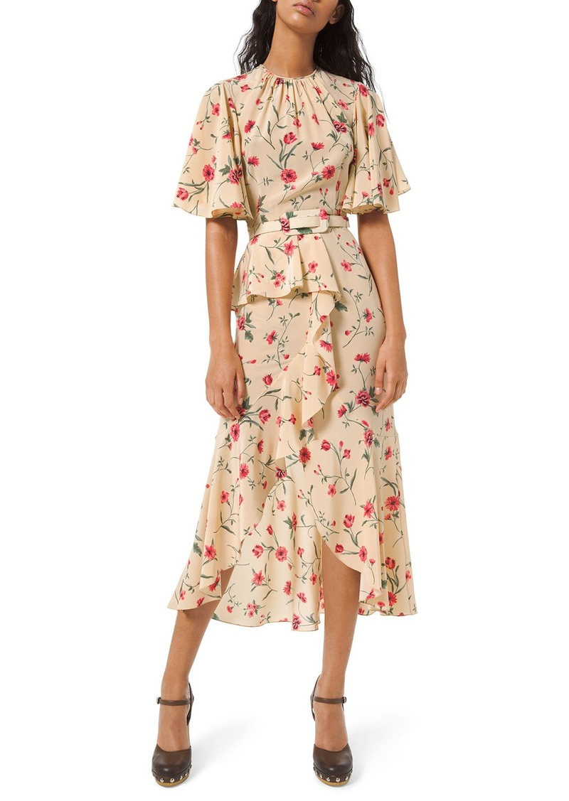 Michael Kors Cascading Flutter Sleeve Dress