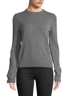 Michael Kors Cashmere Button-Sleeve Sweater