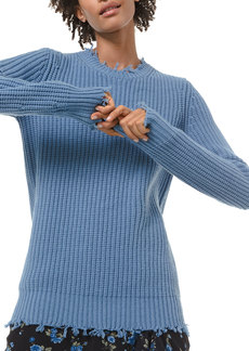 Michael Kors Cashmere Distressed-Trim Sweater