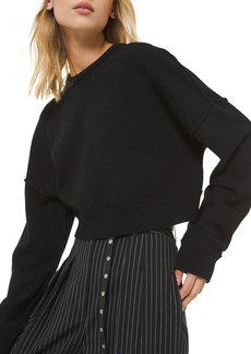 Michael Kors Cashmere Drop-Shoulder Crop Sweatshirt