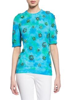 Michael Kors Cashmere Embellished Tie-Dye Slim Top
