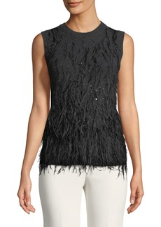 Michael Kors Cashmere Feathered Sweater