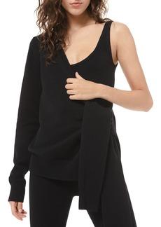 Michael Kors Cashmere One-Shoulder Tie-Sleeve Top