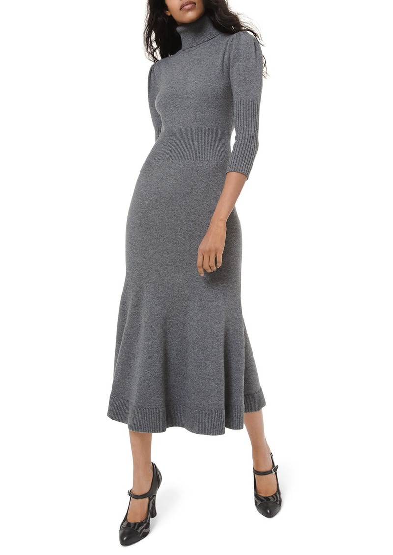 Michael Kors Cashmere Puff-Sleeve Midi Dress